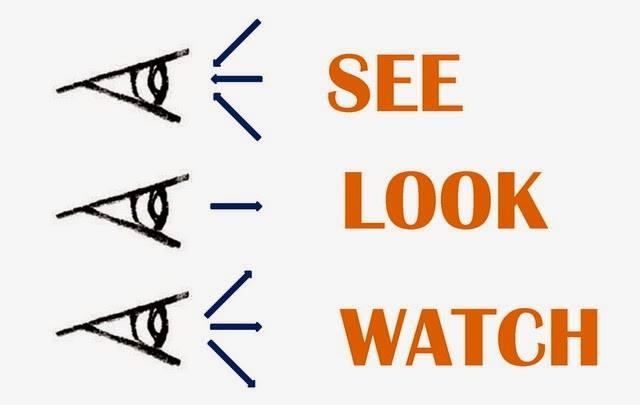 """see look watch - Phân biệt cách sử dụng """"See"""" , """"Look"""" và """"Watch"""""""