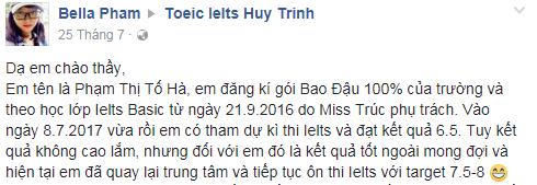 to ha comment 1 - Chúc mừng Tố Hà đạt 6.5 IELTS với gói IELTS BAO ĐẬU 100%